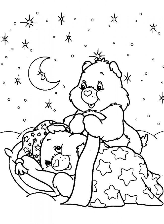Coloriage et dessins gratuits Bisounours se préparent à dormir à imprimer