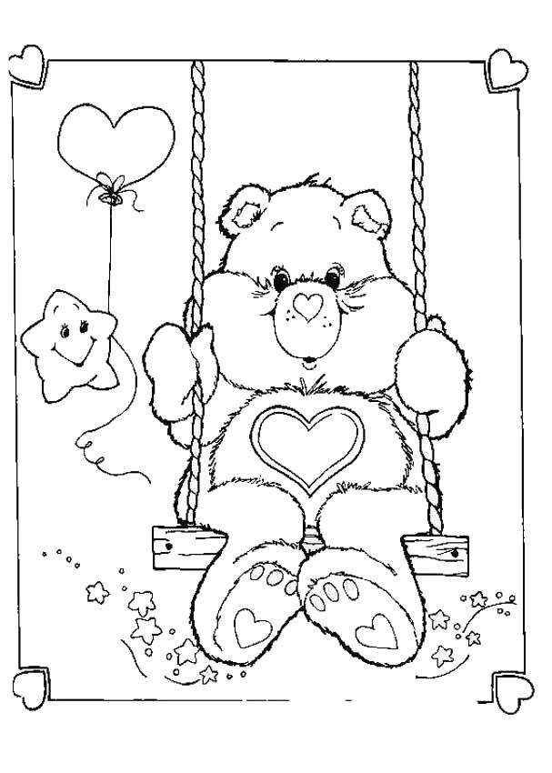 Dessin Balançoire coloriage bisounours sur une balançoire dessin gratuit à imprimer