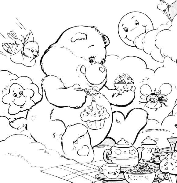 Coloriage et dessins gratuits Calinours anniversaire à imprimer