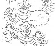 Coloriage et dessins gratuit Calinours sur l'arc-en-ciel à imprimer