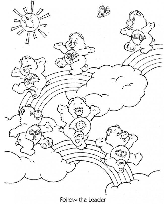 Coloriage et dessins gratuits Calinours sur l'arc-en-ciel à imprimer