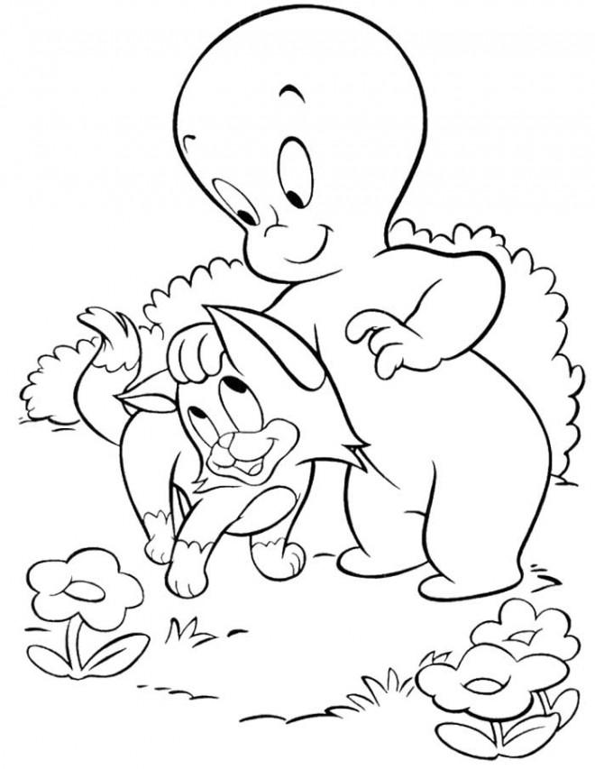 Coloriage et dessins gratuits Casper caresse son chat à imprimer