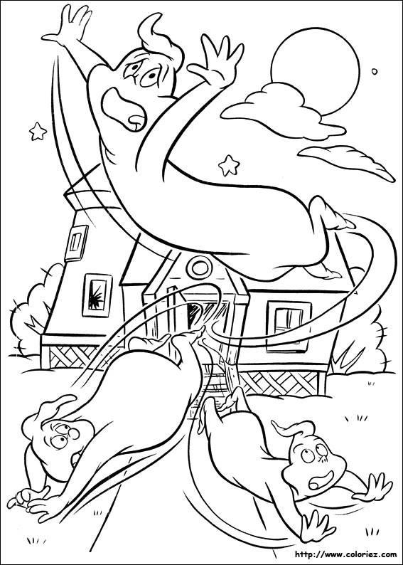 Coloriage et dessins gratuits Casper fait peur à ses oncles à imprimer