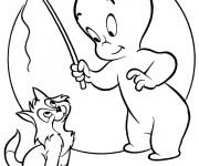 Coloriage Casper joue avec son chat