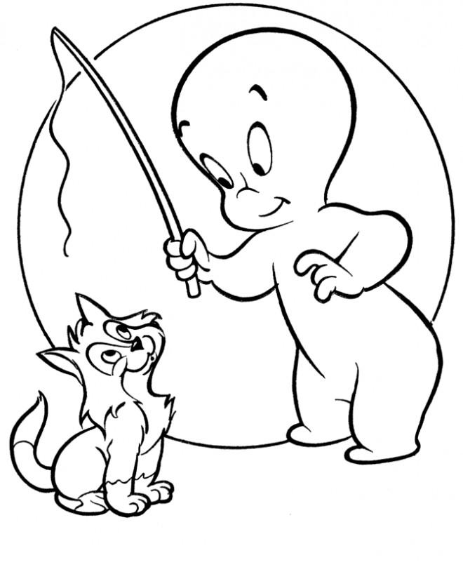 Coloriage et dessins gratuits Casper joue avec son chat à imprimer