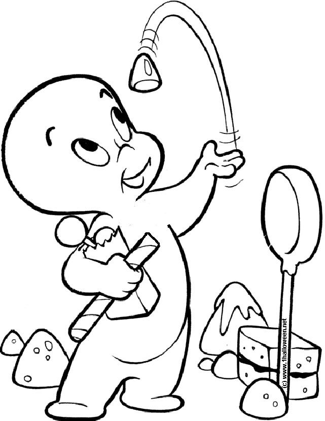 Coloriage et dessins gratuits Casper mange des sucreries à imprimer