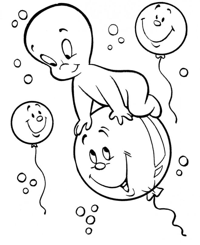 Coloriage et dessins gratuits Casper vole sur un ballon à imprimer