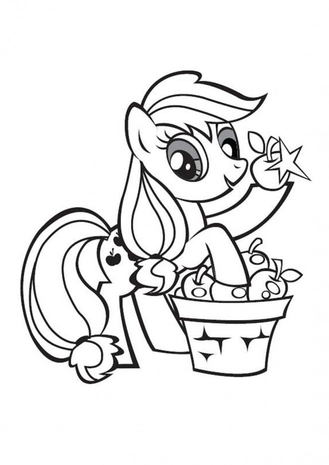 Coloriage applejack r colte des pommes dessin gratuit imprimer - Dessin anime avec des poneys ...