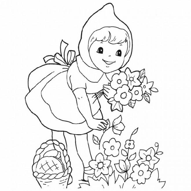 Coloriage et dessins gratuits Chaperon Rouge ceuille des fleurs à imprimer