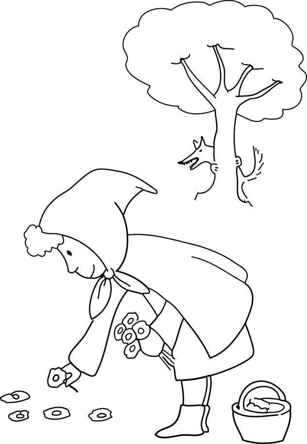 Coloriage et dessins gratuits Chaperon Rouge cueille des fleurs à imprimer