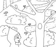 Coloriage Chaperon Rouge dans la forêt