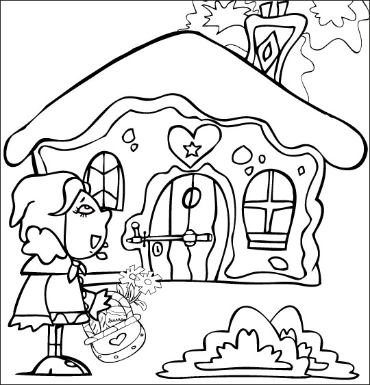 Coloriage et dessins gratuits Chaperon Rouge devant la maison de sa grand mère à imprimer