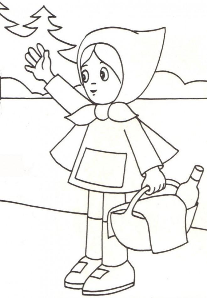 Coloriage et dessins gratuits Chaperon Rouge en ligne à imprimer