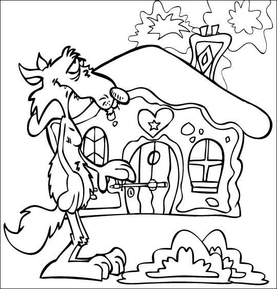 Coloriage et dessins gratuits Chaperon Rouge et la maison de grand-mère à imprimer