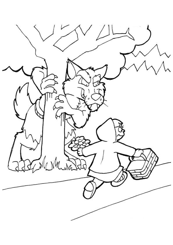 Coloriage chaperon rouge et le loup dessin gratuit imprimer - Coloriage petit loup ...