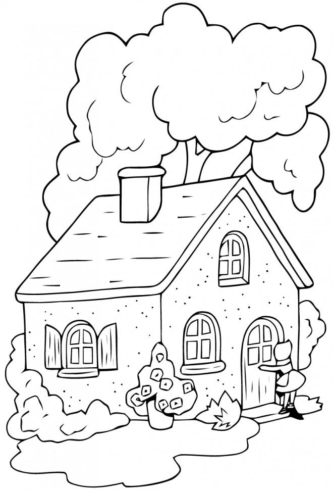 Coloriage et dessins gratuits Chaperon Rouge la maison de sa grand mère à imprimer