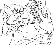 Coloriage et dessins gratuit Chaperon Rouge visite sa grand mère à imprimer