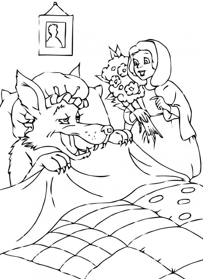 Coloriage et dessins gratuits Chaperon Rouge visite sa grand mère à imprimer