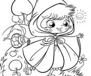 Coloriage et dessins gratuit La mignone Chaperon Rouge à imprimer