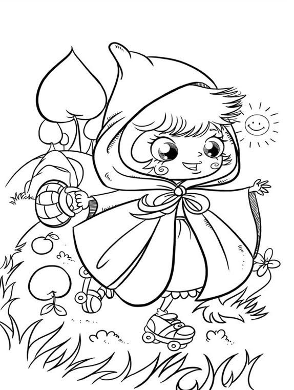 Coloriage et dessins gratuits La mignone Chaperon Rouge à imprimer