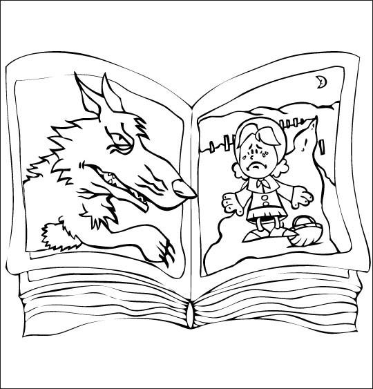Coloriage et dessins gratuits Le livre de Chaperon Rouge à imprimer