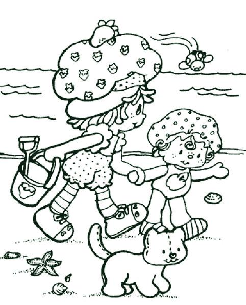 Coloriage et dessins gratuits Charlotte aux fraises à la plage à imprimer