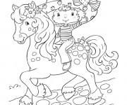 Coloriage et dessins gratuit Charlotte aux fraises avec son cheval à imprimer