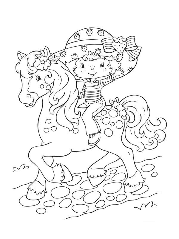 Coloriage et dessins gratuits Charlotte aux fraises avec son cheval à imprimer