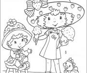 Coloriage et dessins gratuit Charlotte aux fraises et sa petite copine mange la glace à imprimer