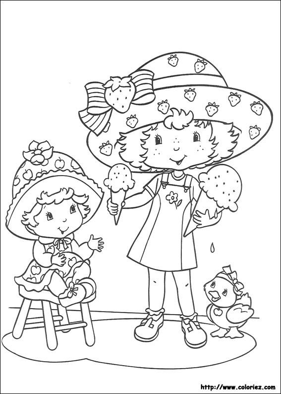 Coloriage et dessins gratuits Charlotte aux fraises et sa petite copine mange la glace à imprimer