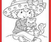 Coloriage et dessins gratuit Charlotte aux fraises et son chat à imprimer