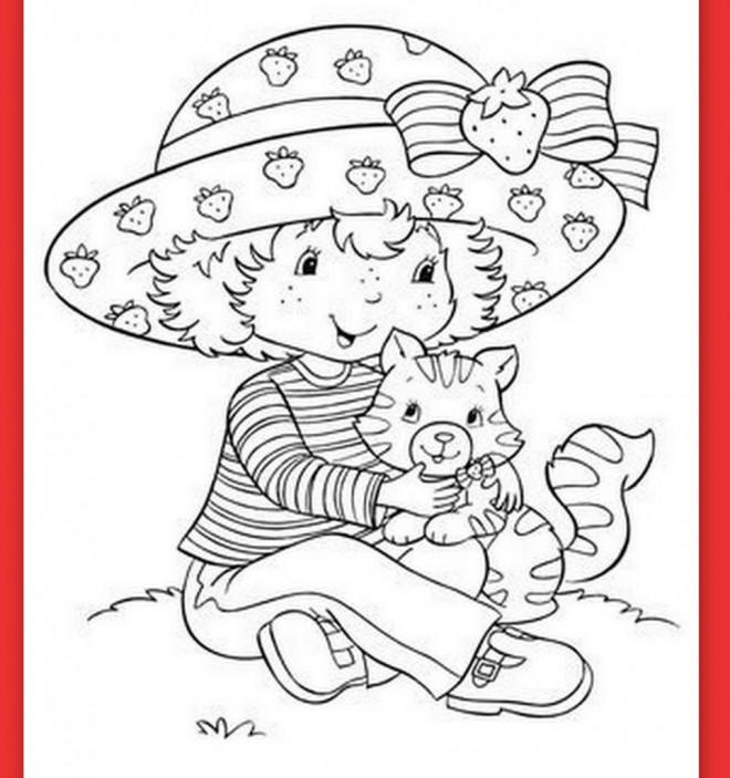 Coloriage et dessins gratuits Charlotte aux fraises et son chat à imprimer