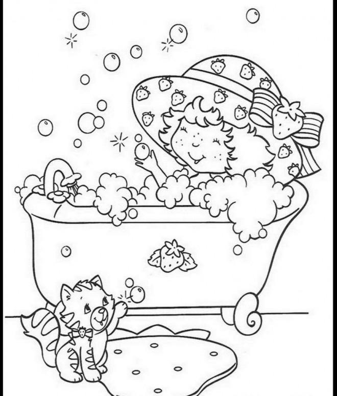Coloriage charlotte aux fraises prend un bain dessin gratuit imprimer - Dessin charlotte aux fraises ...