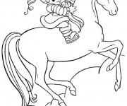 Coloriage et dessins gratuit Charlotte  aux fraises sur son cheval à imprimer