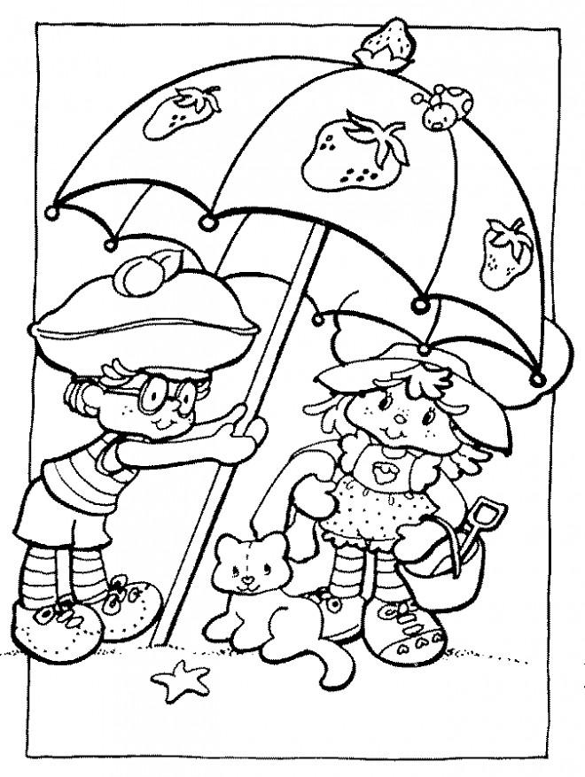 Coloriage et dessins gratuits Charlotte de fraise sous la parapluie à imprimer