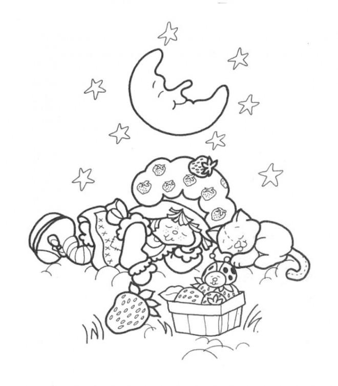 Coloriage et dessins gratuits Charlotte dort sous la lune à imprimer