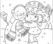 Coloriage et dessins gratuit Charlotte et bonhomme de neige en couleur à imprimer