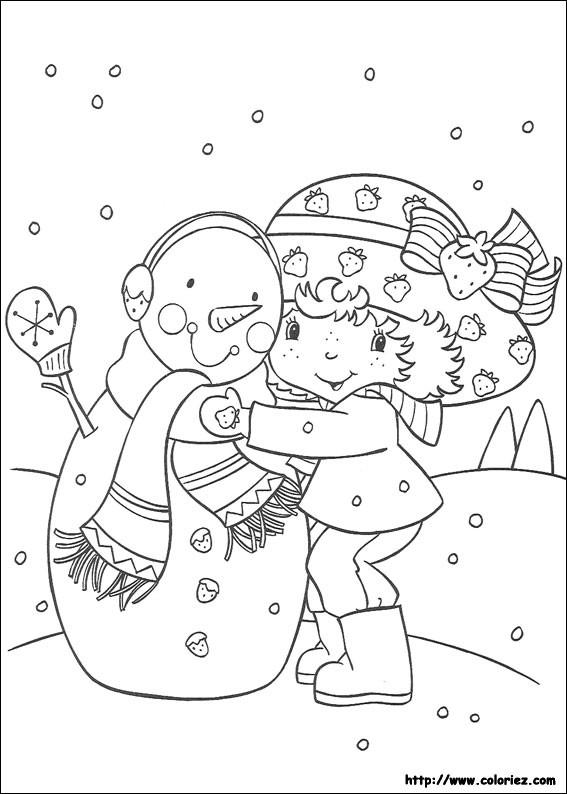 Coloriage et dessins gratuits Charlotte et bonhomme de neige en couleur à imprimer
