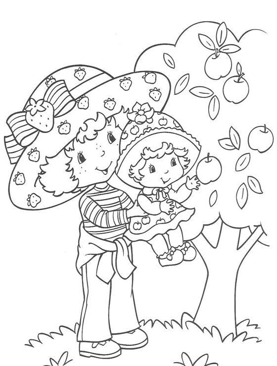 Coloriage et dessins gratuits Charlotte et fille près de l'arbre à imprimer