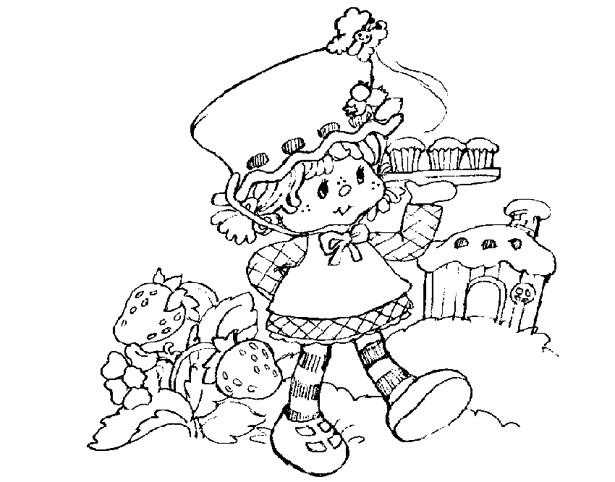 Coloriage et dessins gratuits Charlotte et gâteaux dans le champ à imprimer