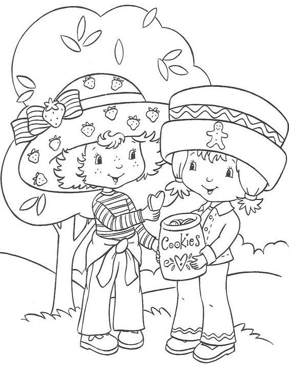 Coloriage et dessins gratuits Charlotte et une amie mangent  des biscuits à imprimer