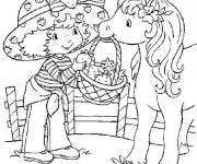 Coloriage et dessins gratuit Dessin charlotte avec son cheval à imprimer