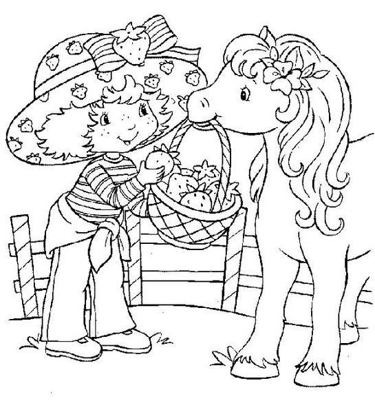 Coloriage et dessins gratuits Dessin charlotte avec son cheval à imprimer