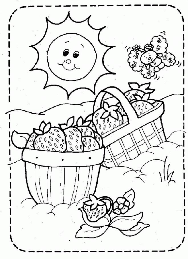Coloriage et dessins gratuits Les fraises sous le soleil à imprimer