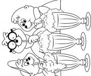 Coloriage Chipmunks  boivent du jus