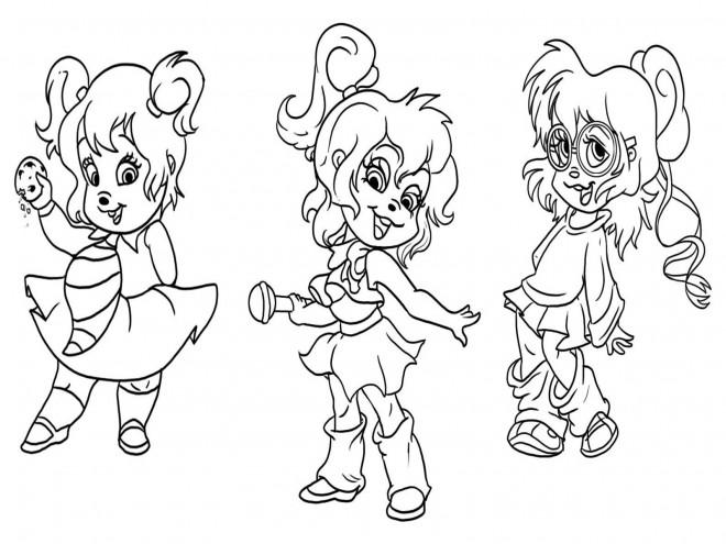 Coloriage et dessins gratuits Chipmunks Chipettes dansent à imprimer