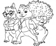 Coloriage Chipmunks en mode les années 80