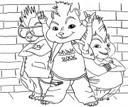 Coloriage Chipmunks en mode Rock