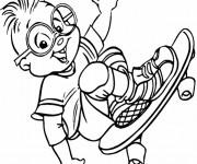 Coloriage Chipmunks en skateboard