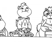 Coloriage Chipmunks entrain de manger